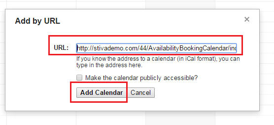add calendar URL in Google Calendar