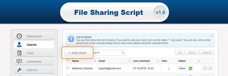 File sharing script create new profile