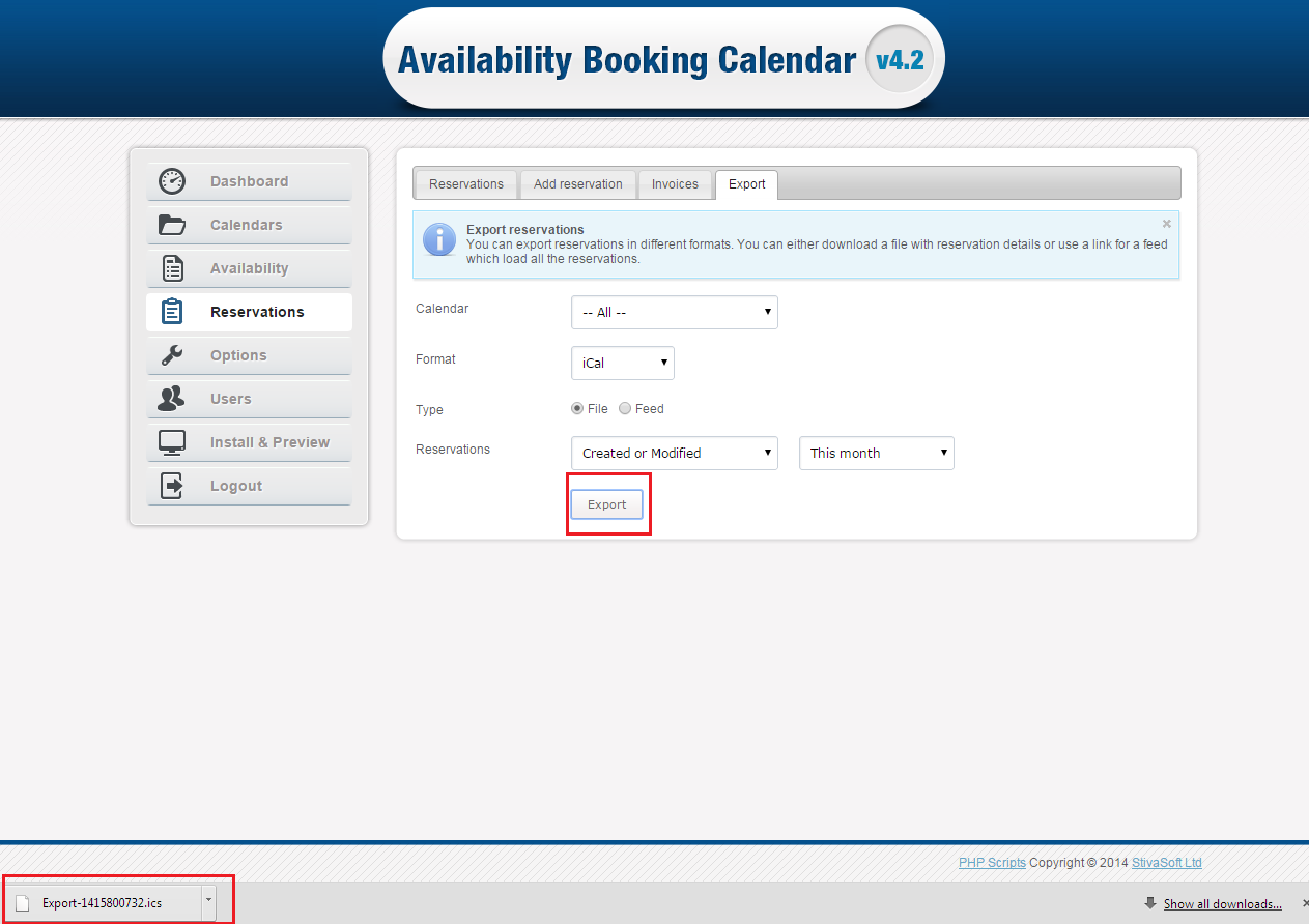 iCal file export form availability booking calendar