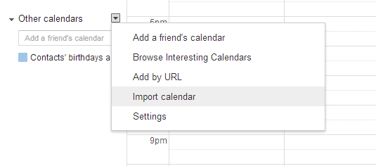 import calendar in Google Calendar