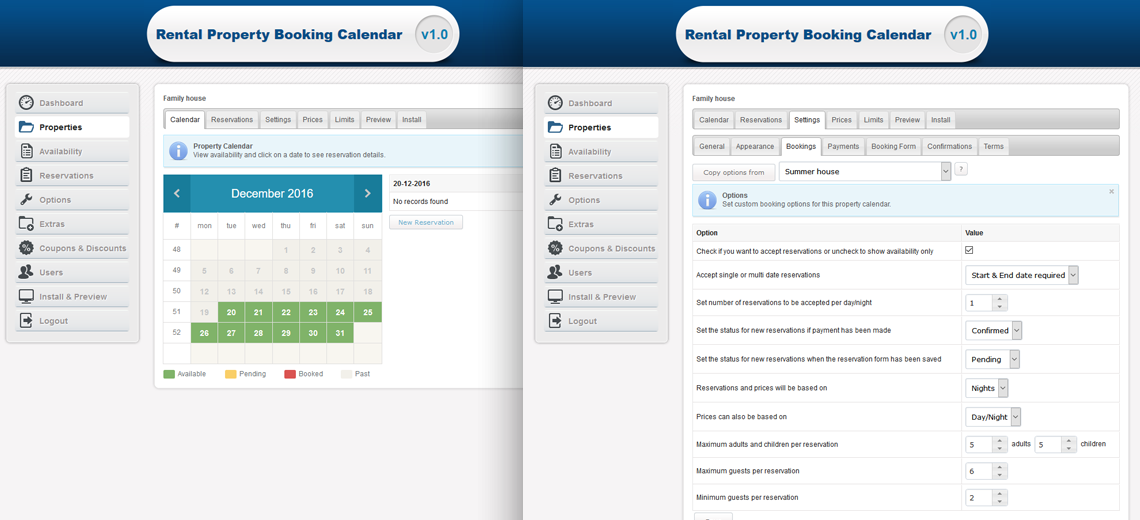 Rental Property Booking Calendar