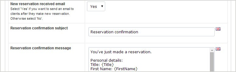 transfer reservation script notifications