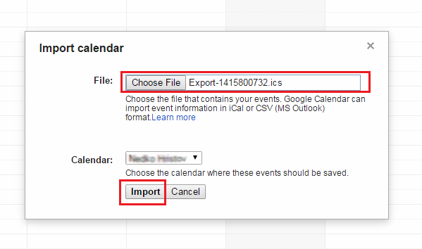 upload iCal file to Google calendar