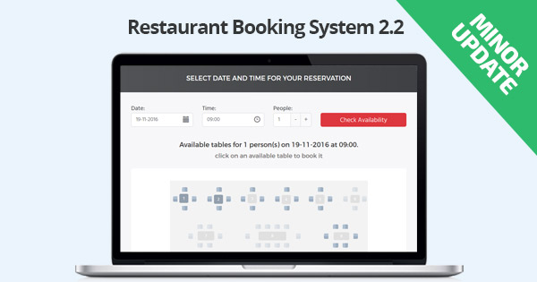 Minor Update: Restaurant Booking System 2.2