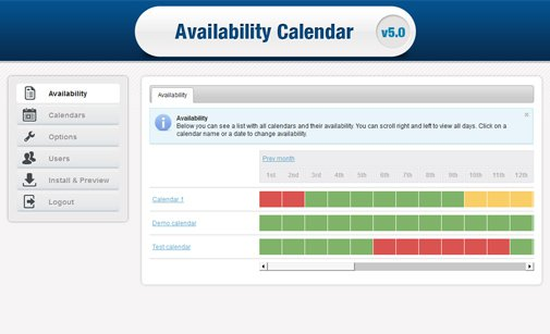 Online Availability Calendar