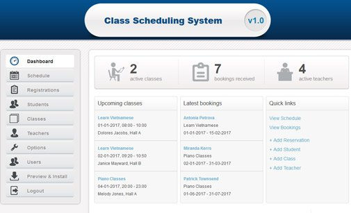 Online course booking system