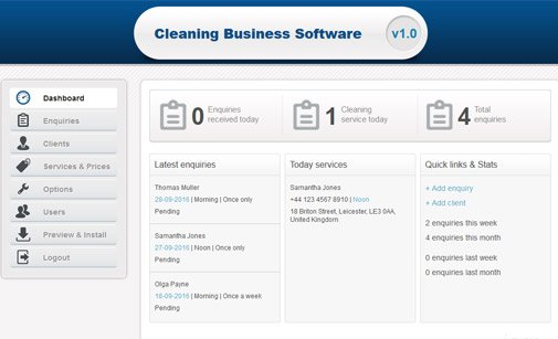 Cleaning service scheduling software