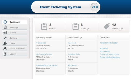 PHP event booking system