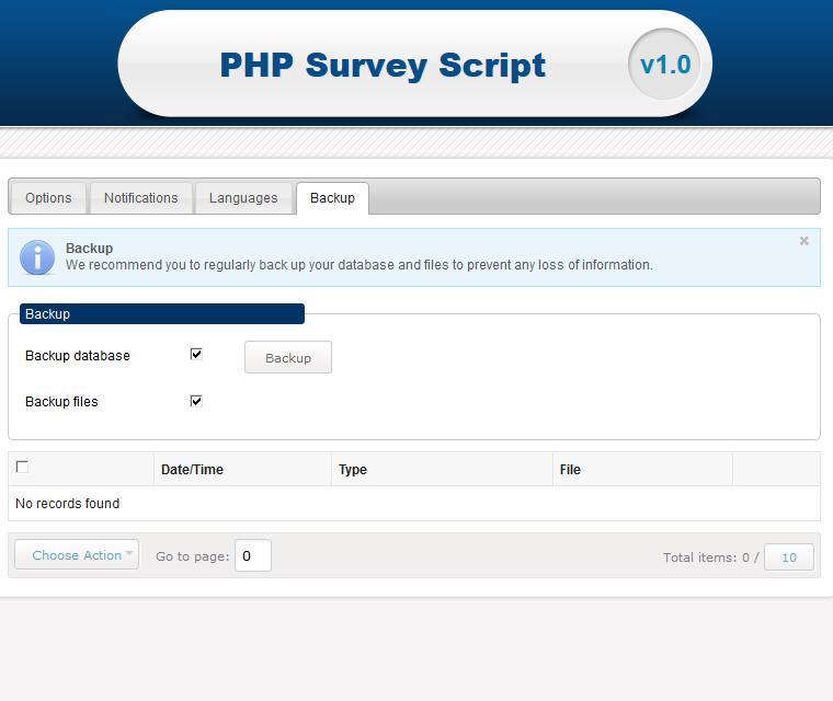 Backup surveys and database