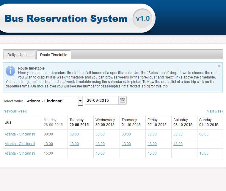 online bus reservation system report