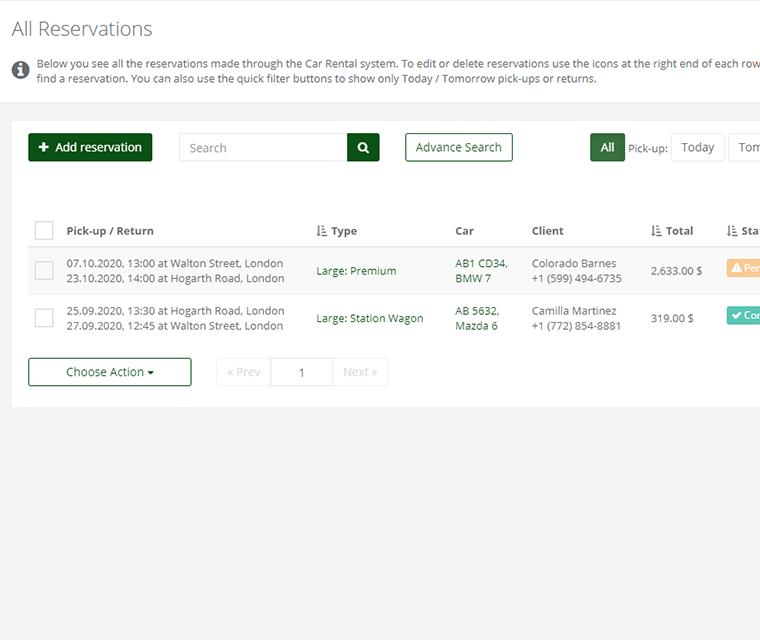 Car Rental Add Edit And Delete Reservation Details