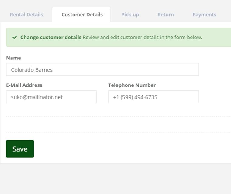Car Rental Check Customer Details