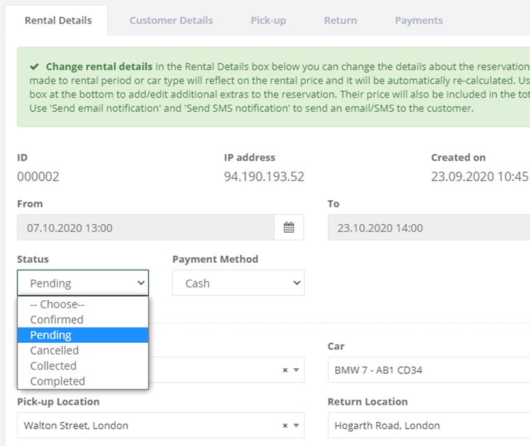 Car Rental Control Booking Statuses