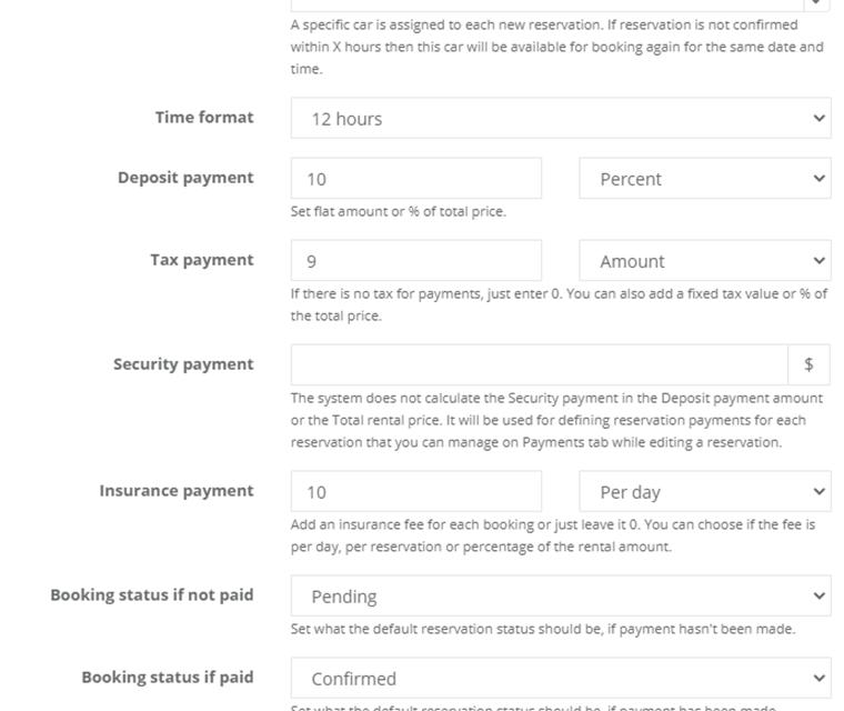 Car Rental Set Deposit Tax