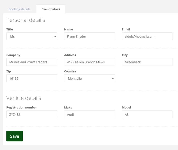 Cark Park Booking Client Details