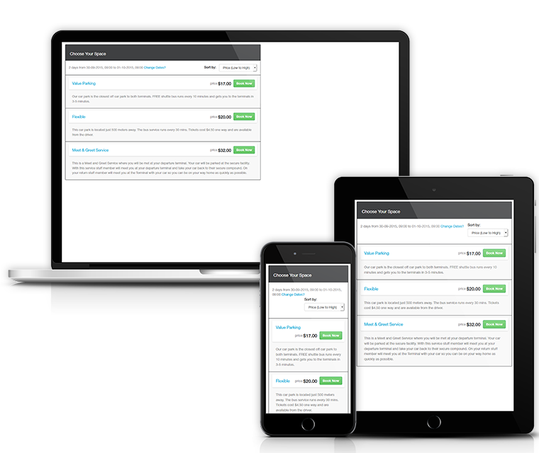 Cark Park Booking Responsive Layout