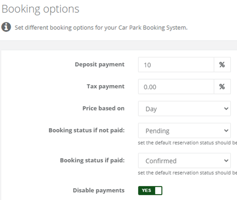 Cark Park Booking Set Currency Deposit And Tax