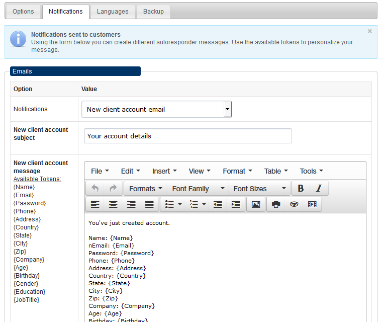 Configure email notifications