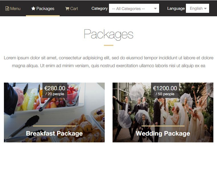 Create catering packages