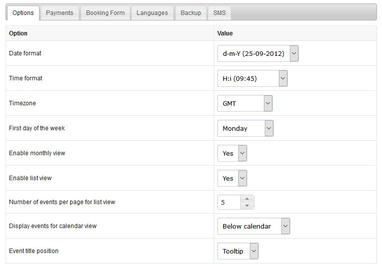 Calendar Booking System Php : Event booking calendar php system features