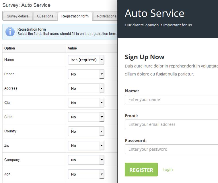 Customize survey registration form