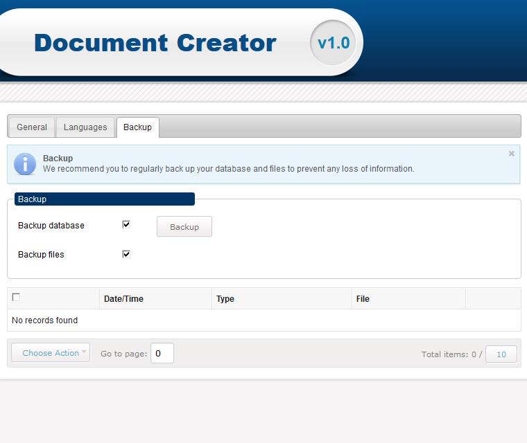 Document Creator Backup Your Database