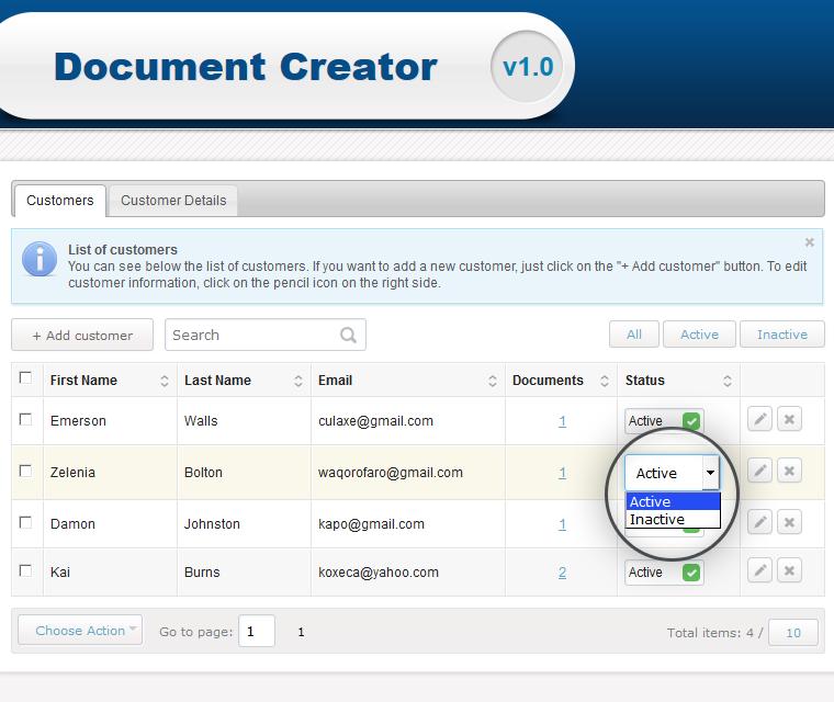 Document Creator Change Customer Profile Status
