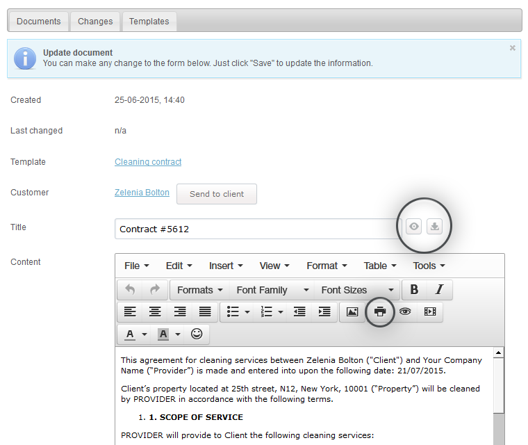 Document Creator Preview Print And Download