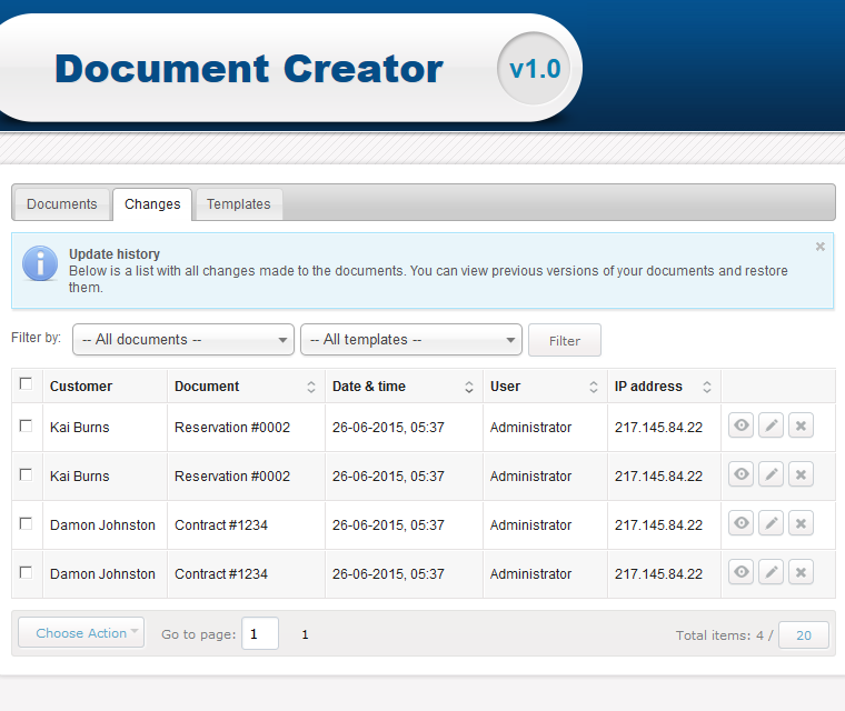 Document Creator Review The History Log Of All Changes