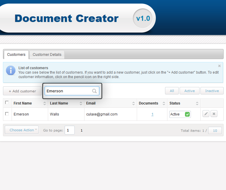Document Creator Search For A Specific Customer