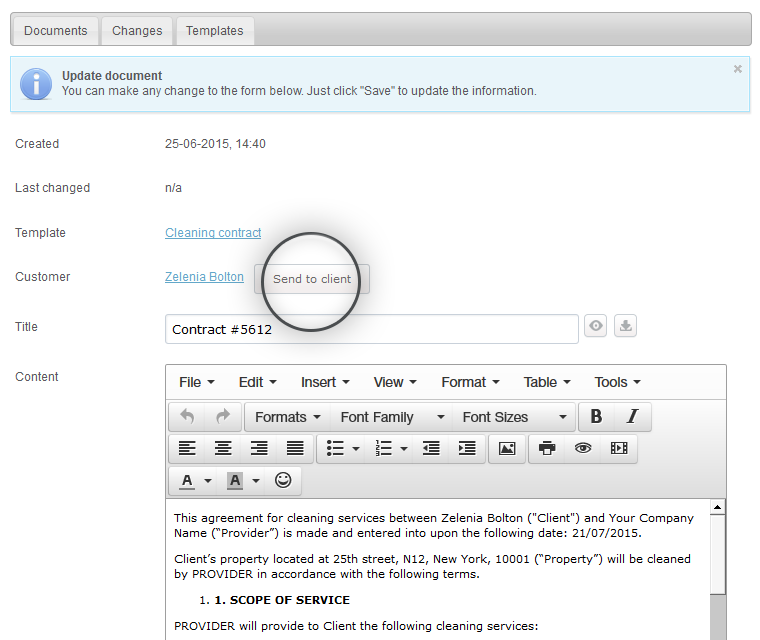 Document Creator Send Ready Documents To Customers