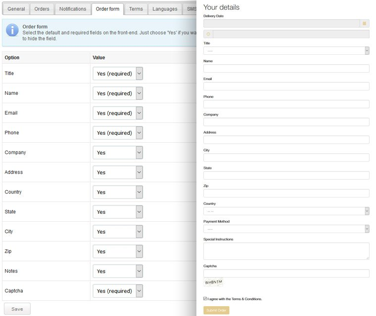 Customizable order form
