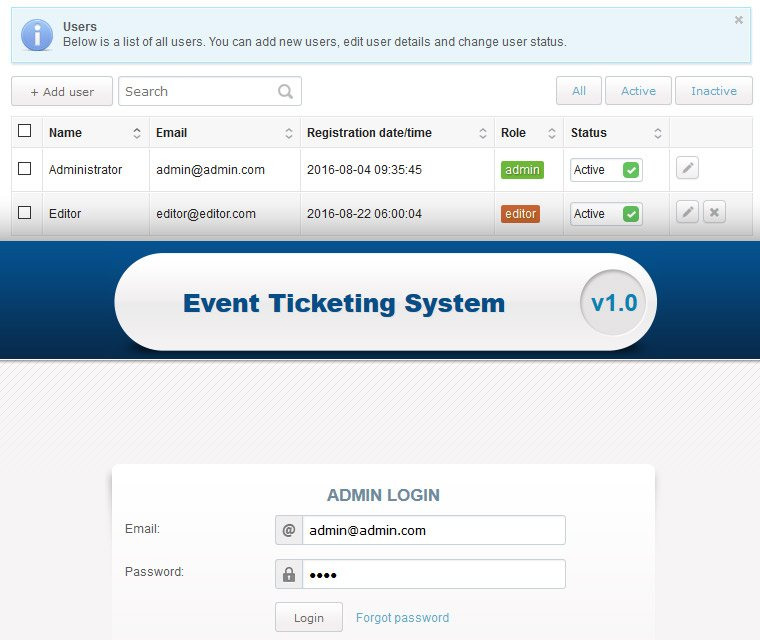 Event Ticketing System Users