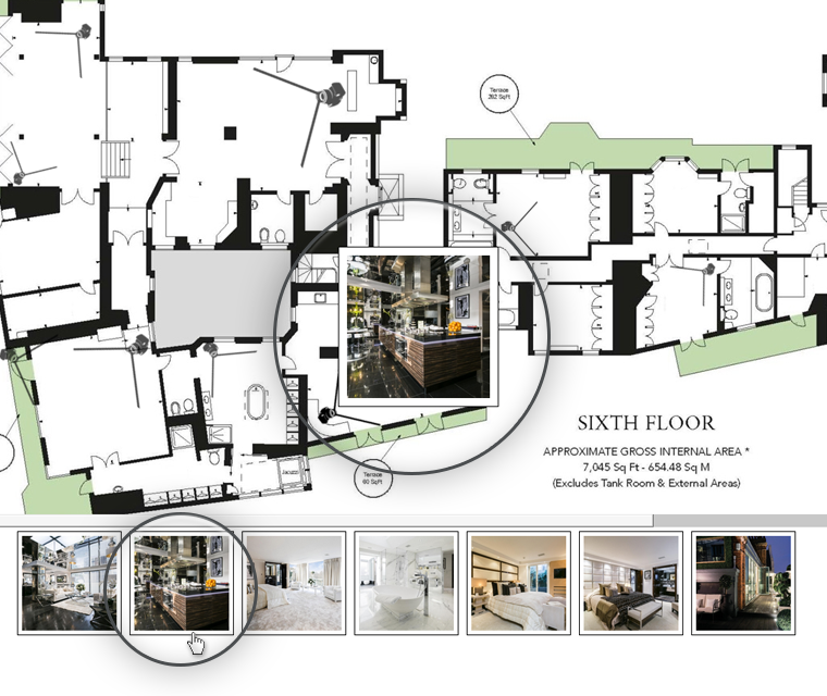 Interactive Floor Plan Hovering Over The Image Gallery Thumb Will Show The Photo Within The Camera Pin
