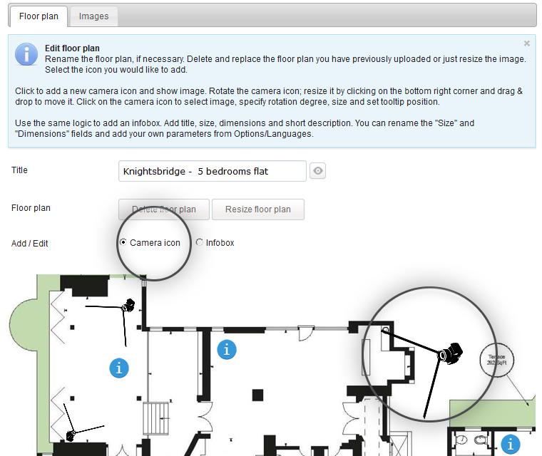 Interactive Floor Plan Pin Cameras On The Floor Plan Map
