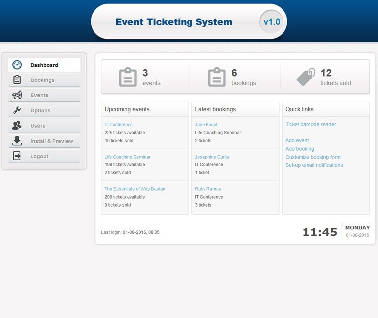 Event Ticketing System dashboard