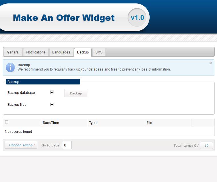 Make An Offer Widget Backup Your Database