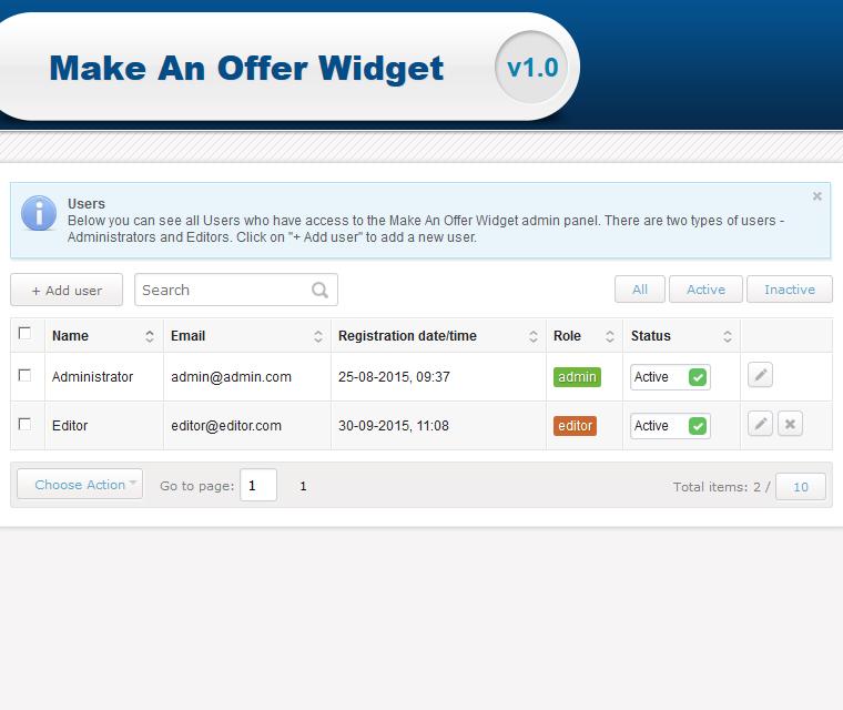 Make An Offer Widget Grant Different Access Roles