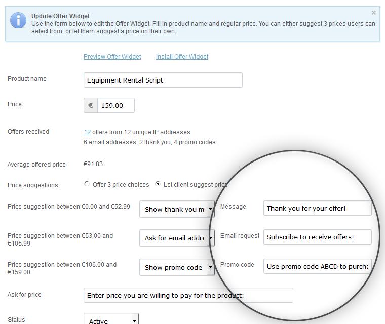 Make An Offer Widget Message Set By Script Admins