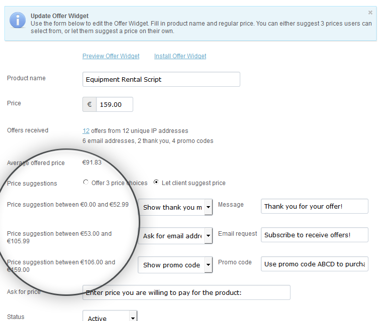 Make An Offer Widget Offer Three Predefined Pricing Options