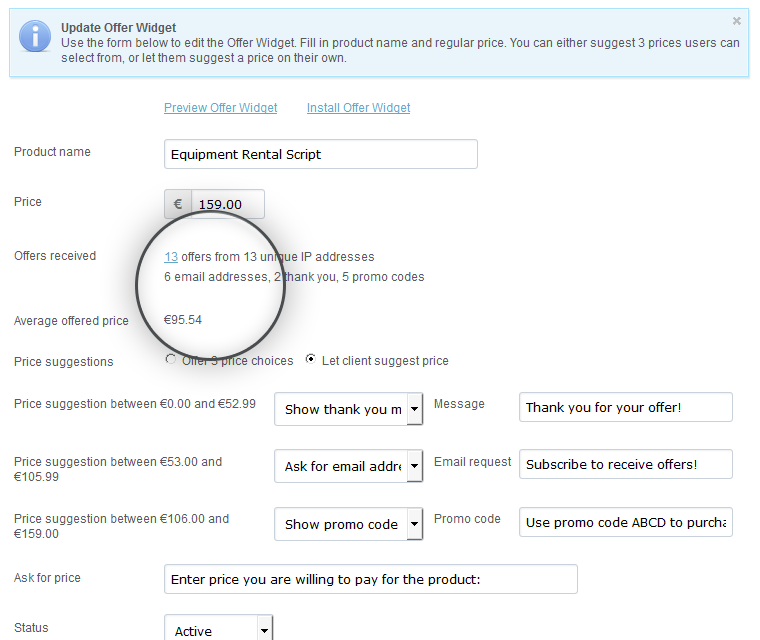 Make An Offer Widget Review Average Price Offered
