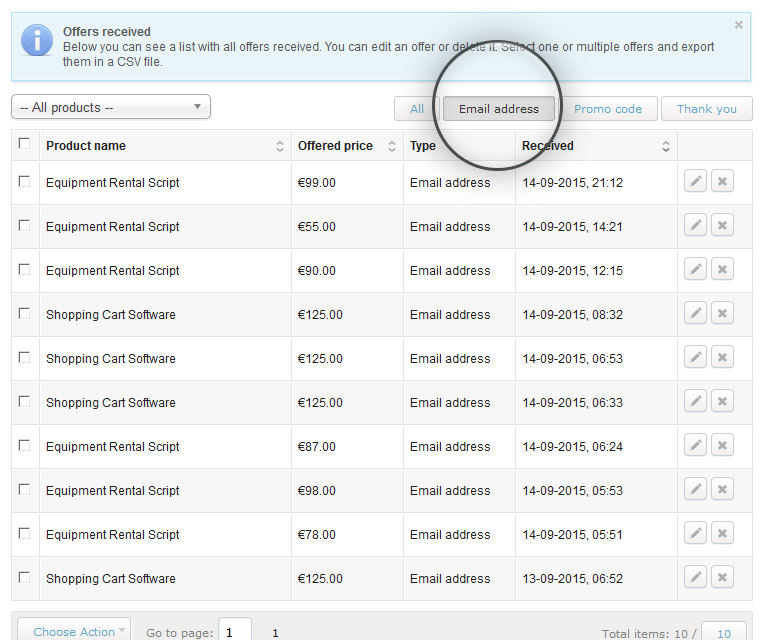 Make An Offer Widget Review Emails Collected For Price Offers