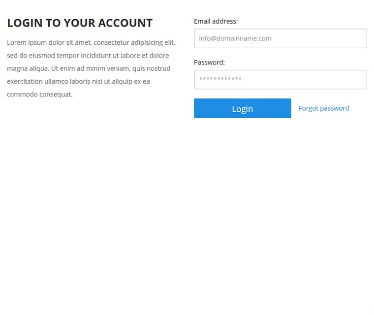 Password protected accounts