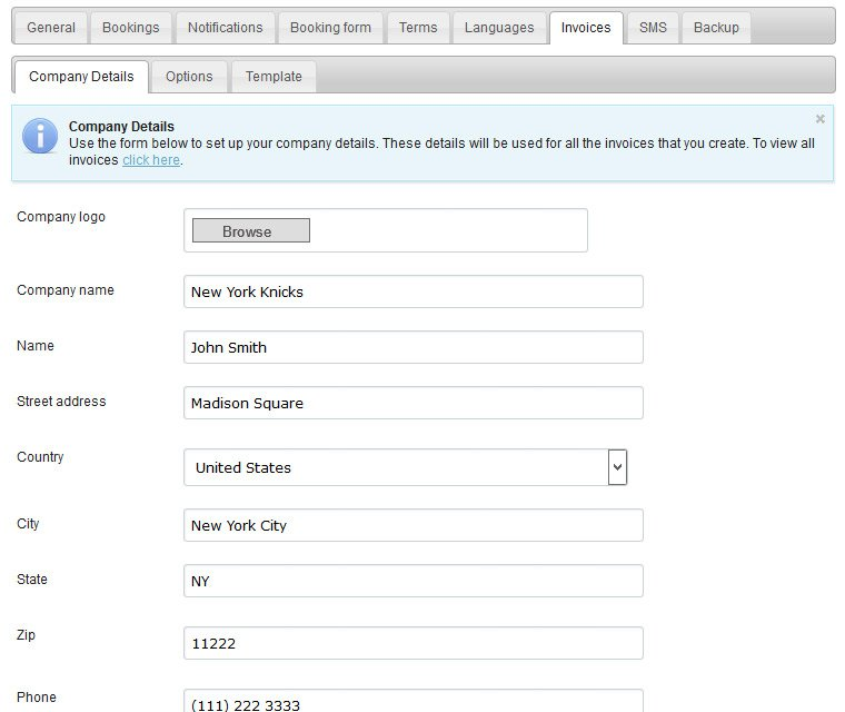 Personalize invoices