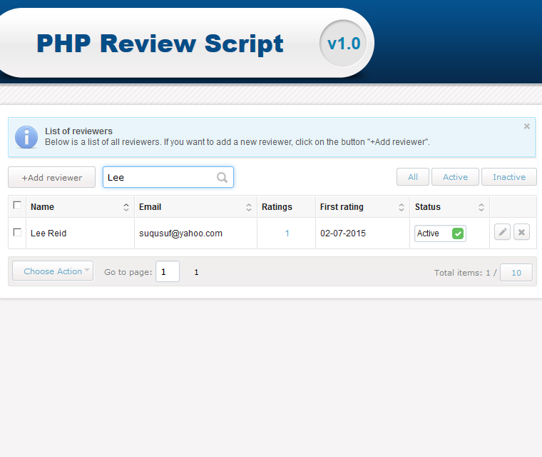 Php Review Script Search For A Specific Review Rating Or Reviewer
