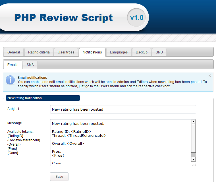Php Review Script Send Email And Sms Notifications