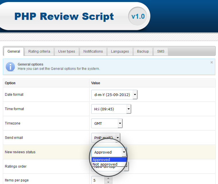 Php Review Script Set Status Of Newly Posted Ratings