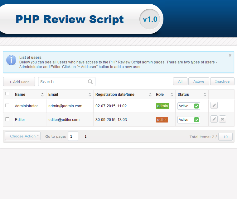 Php Review Script User Roles