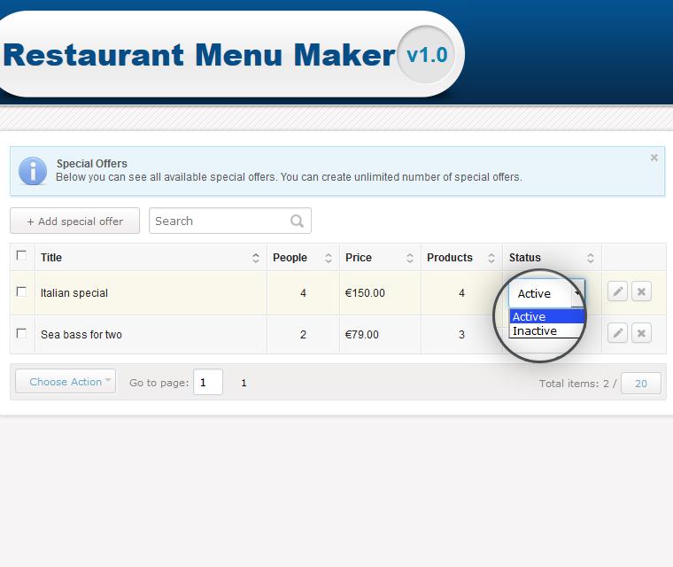 restaurant menu maker