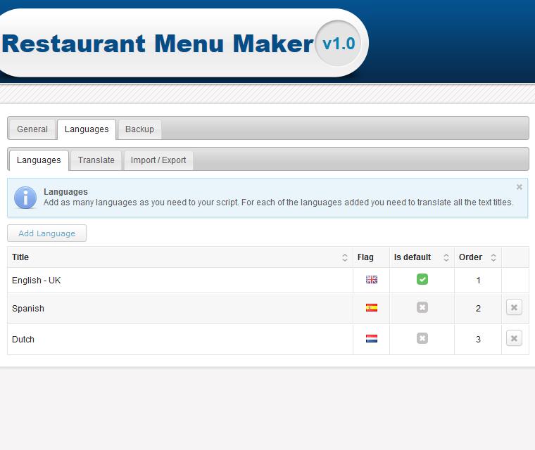 Restaurant Menu Maker Multi Language Support